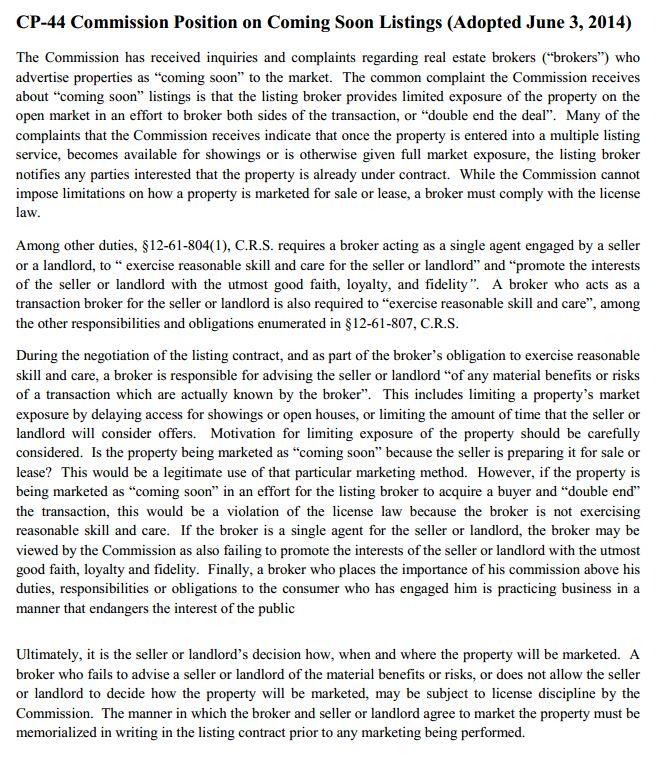cp44 broker position statement